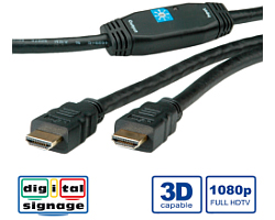 Roline HDMI High Speed kabel, HDMI M - HDMI M, 30m, sa pojačanjem
